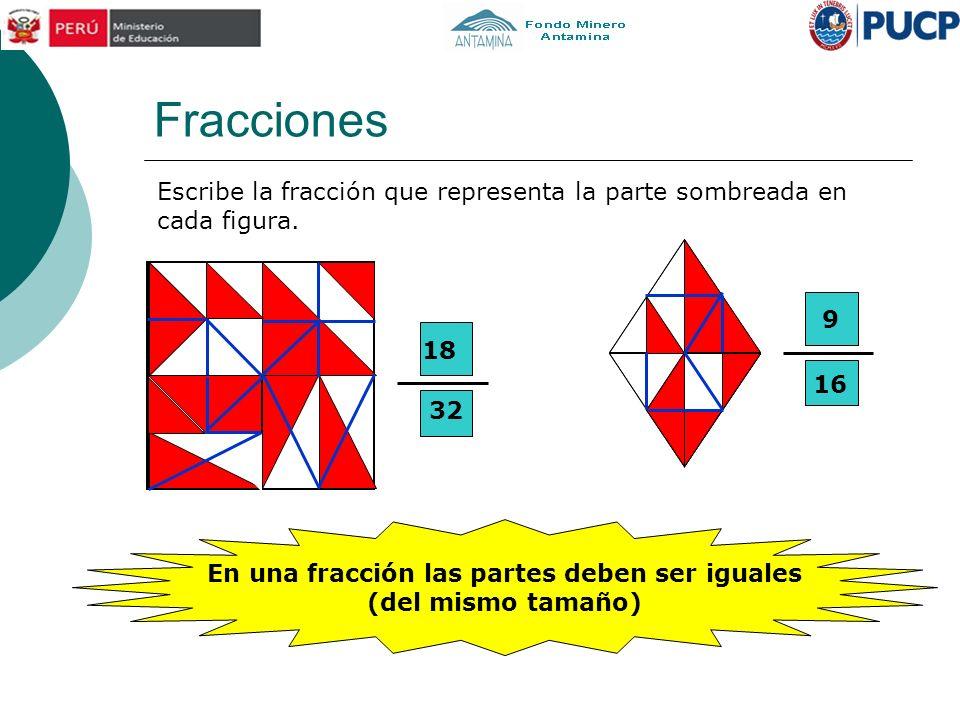 Fracciones Escribe la fracción que representa la parte sombreada en cada figura. 18 32 9 16 En una fracción las partes deben ser iguales (del mismo ta