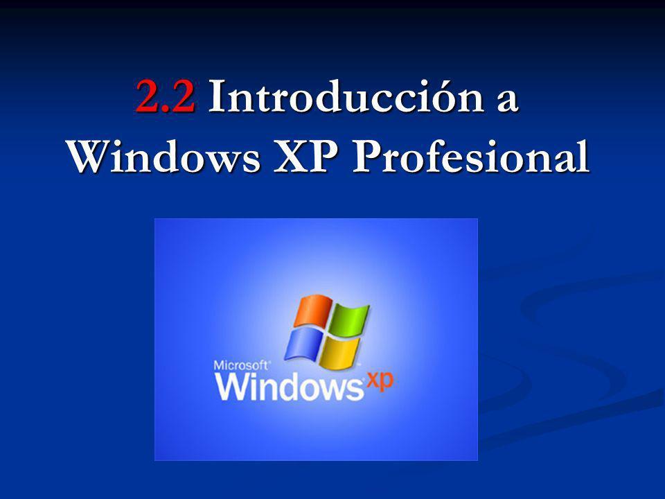2.2 Introducción a Windows XP Introducción - Apareció en octubre del año 2001.