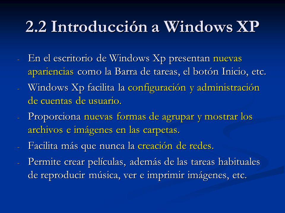 2.8 Los Accesorios de Windows XP El cuadro de herramientas: El cuadro de herramientas: Selección de forma libre Borrador/Borrador color Seleccionar color Lápiz Aerógrafo Línea Rectángulo Elipse Selección Relleno de color Ampliación Pincel Texto Curva Polígono Rectángulo redondeado