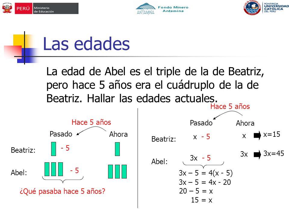 Las edades La edad de Abel es el triple de la de Beatriz, pero hace 5 años era el cuádruplo de la de Beatriz.