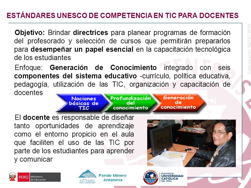 ESTÁNDARES UNESCO DE COMPETENCIA EN TIC PARA DOCENTES Objetivo: Brindar directrices para planear programas de formación del profesorado y selección de