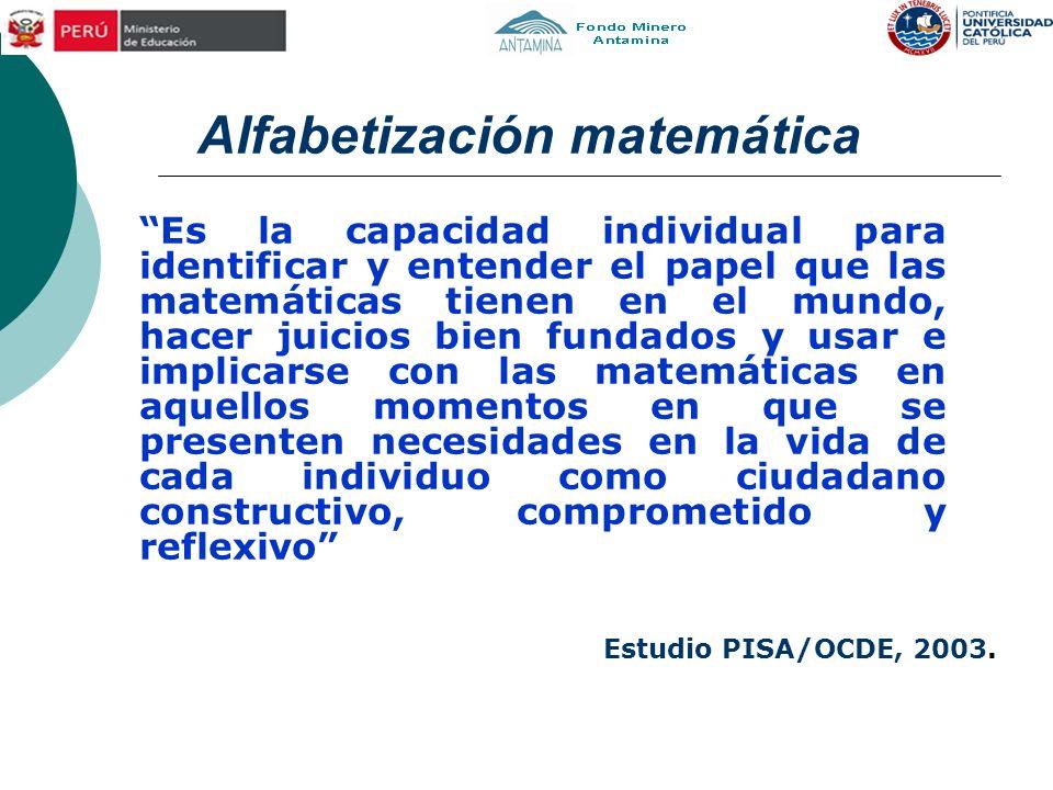 Alfabetización matemática Es la capacidad individual para identificar y entender el papel que las matemáticas tienen en el mundo, hacer juicios bien f