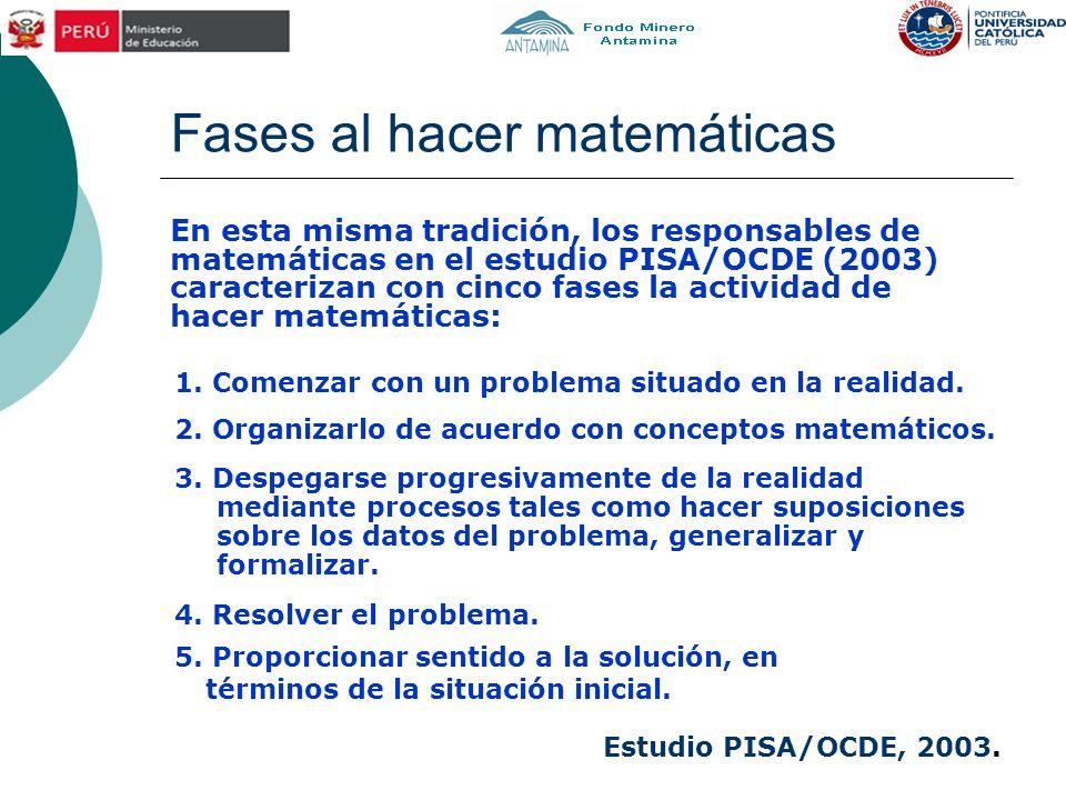 Fases al hacer matemáticas En esta misma tradición, los responsables de matemáticas en el estudio PISA/OCDE (2003) caracterizan con cinco fases la act