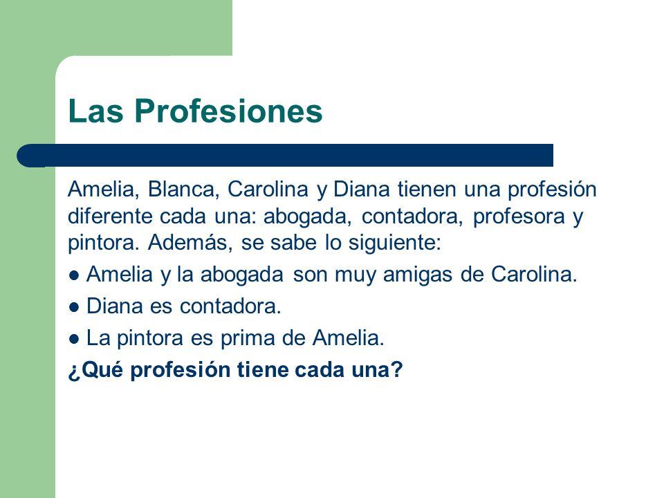 Las Profesiones Amelia, Blanca, Carolina y Diana tienen una profesión diferente cada una: abogada, contadora, profesora y pintora.