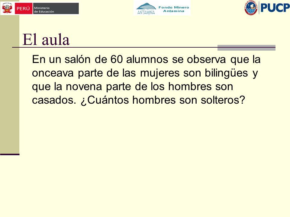 El aula En un salón de 60 alumnos se observa que la onceava parte de las mujeres son bilingües y que la novena parte de los hombres son casados. ¿Cuán
