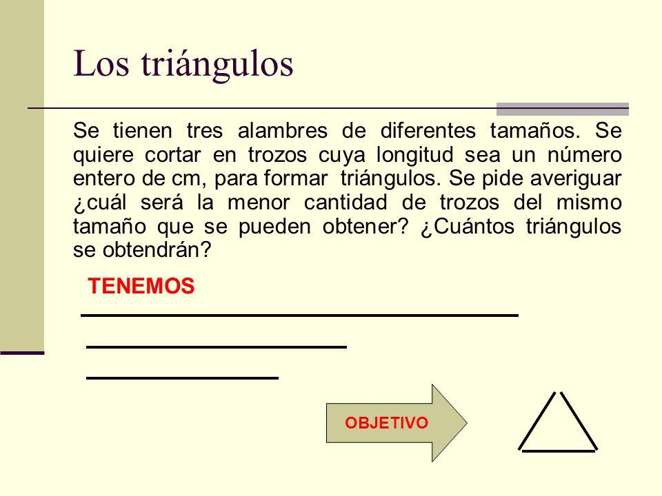 Los triángulos Se tienen tres alambres de diferentes tamaños. Se quiere cortar en trozos cuya longitud sea un número entero de cm, para formar triángu