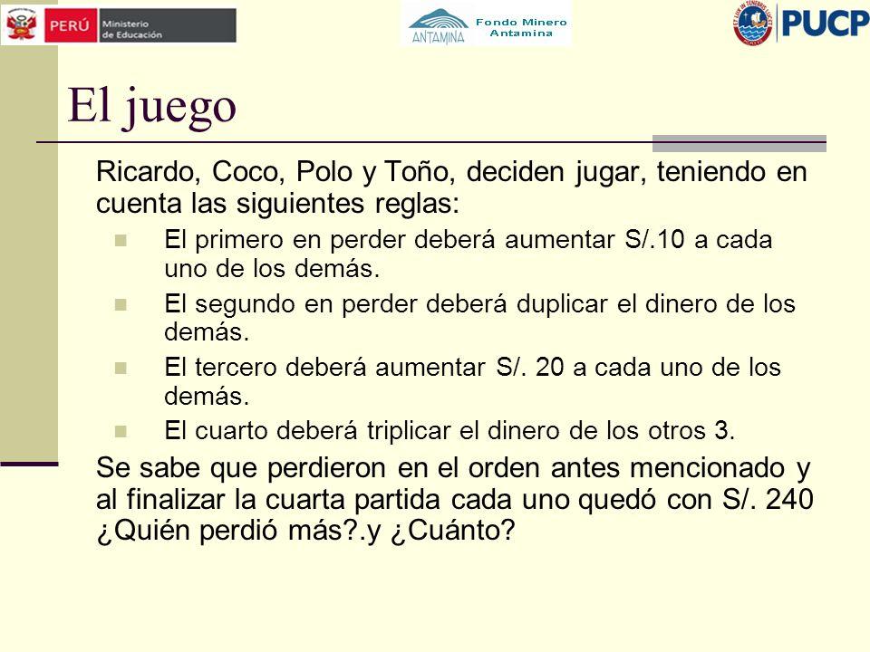 El juego Ricardo, Coco, Polo y Toño, deciden jugar, teniendo en cuenta las siguientes reglas: El primero en perder deberá aumentar S/.10 a cada uno de