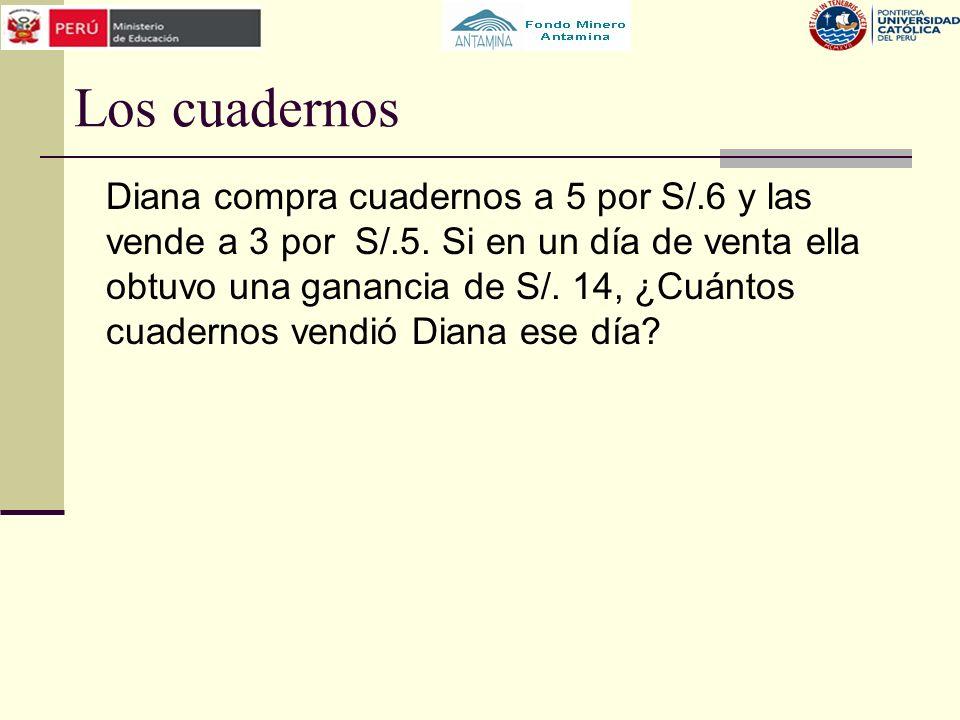 Los cuadernos Diana compra cuadernos a 5 por S/.6 y las vende a 3 por S/.5. Si en un día de venta ella obtuvo una ganancia de S/. 14, ¿Cuántos cuadern