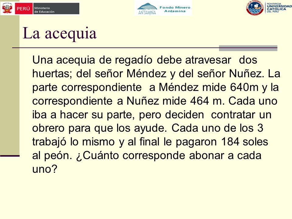 La acequia Una acequia de regadío debe atravesar dos huertas; del señor Méndez y del señor Nuñez. La parte correspondiente a Méndez mide 640m y la cor