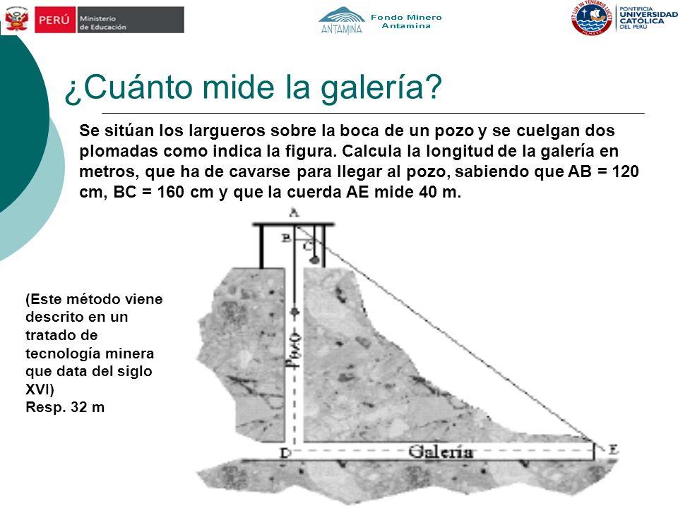 ¿Cuánto mide la galería? (Este método viene descrito en un tratado de tecnología minera que data del siglo XVI) Resp. 32 m Se sitúan los largueros sob