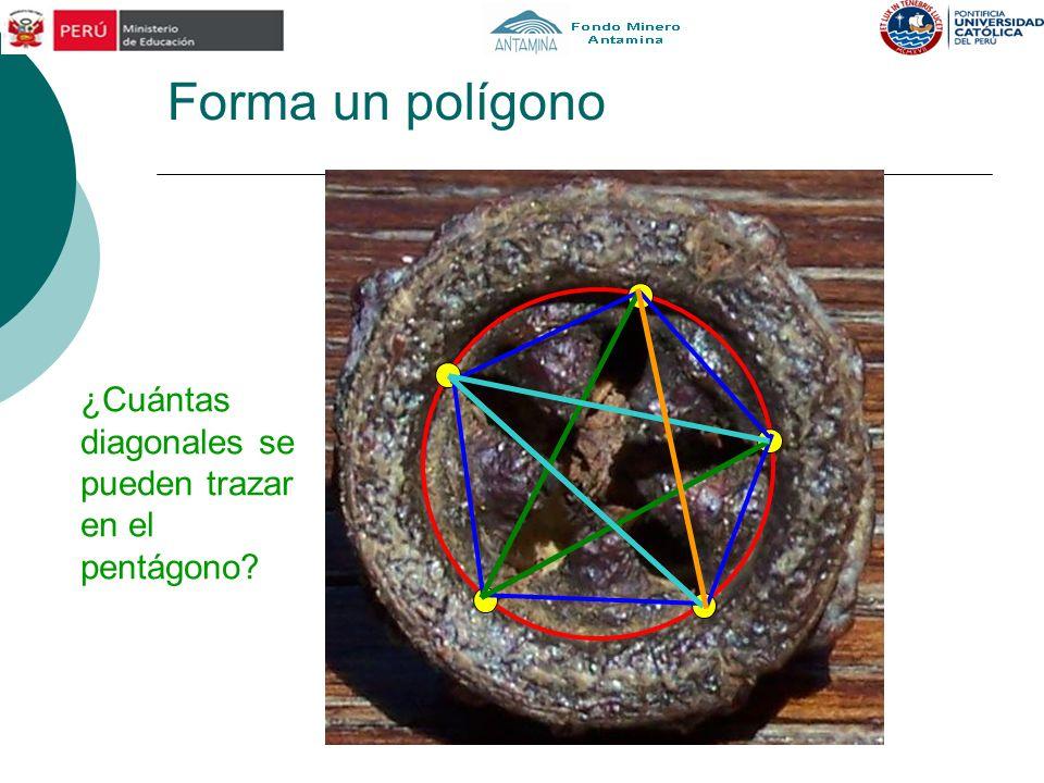 ¿Cuántas diagonales se pueden trazar en el pentágono? Forma un polígono