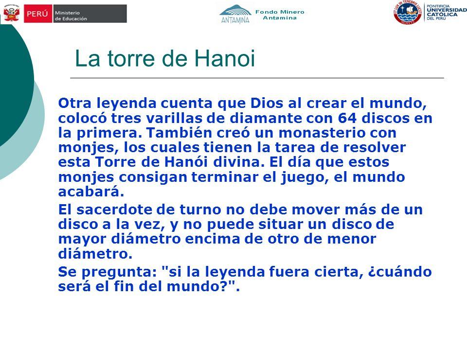 La torre de Hanoi Otra leyenda cuenta que Dios al crear el mundo, colocó tres varillas de diamante con 64 discos en la primera.