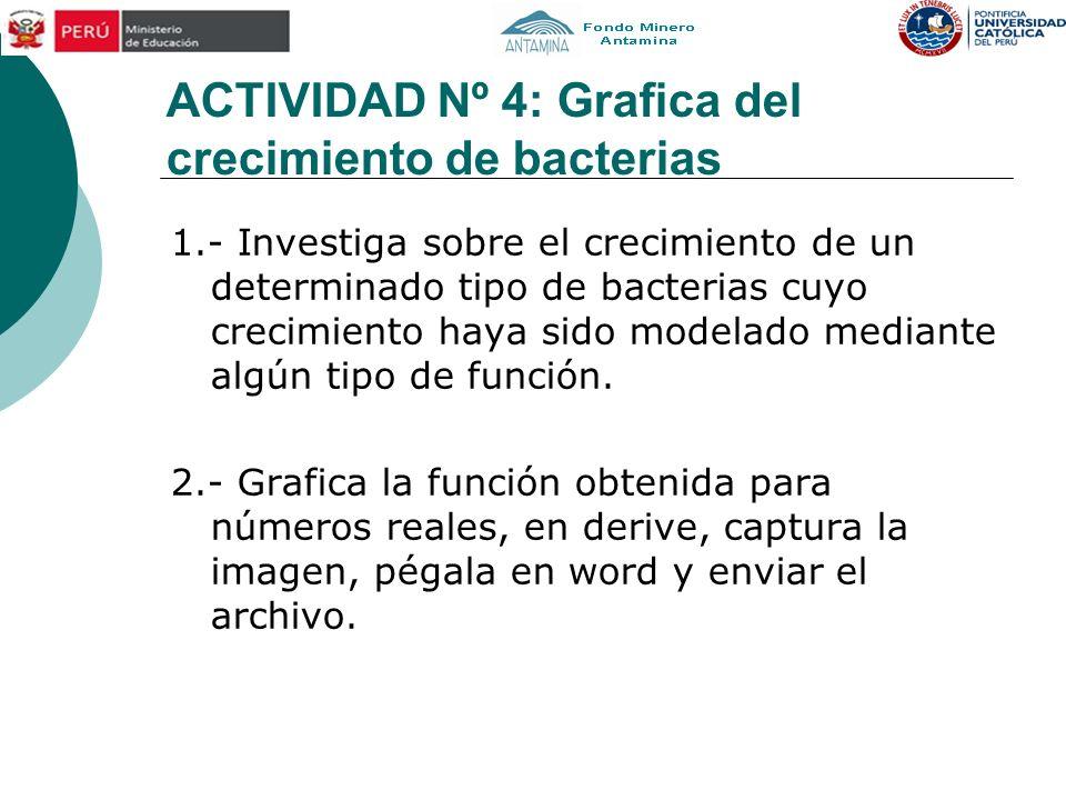 ACTIVIDAD Nº 4: Grafica del crecimiento de bacterias 1.- Investiga sobre el crecimiento de un determinado tipo de bacterias cuyo crecimiento haya sido modelado mediante algún tipo de función.