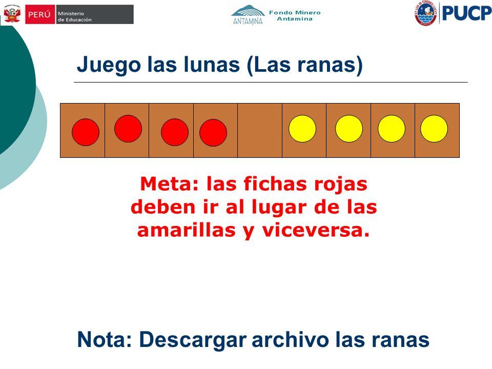Juego las lunas (Las ranas) Meta: las fichas rojas deben ir al lugar de las amarillas y viceversa. Nota: Descargar archivo las ranas