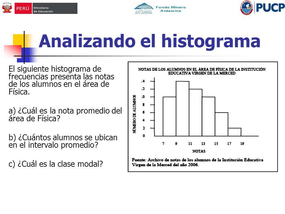 Analizando el histograma El siguiente histograma de frecuencias presenta las notas de los alumnos en el área de Física. a) ¿Cuál es la nota promedio d
