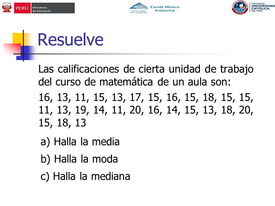 Resuelve Las calificaciones de cierta unidad de trabajo del curso de matemática de un aula son: 16, 13, 11, 15, 13, 17, 15, 16, 15, 18, 15, 15, 11, 13, 19, 14, 11, 20, 16, 14, 15, 13, 18, 20, 15, 18, 13 a) Halla la media b) Halla la moda c) Halla la mediana