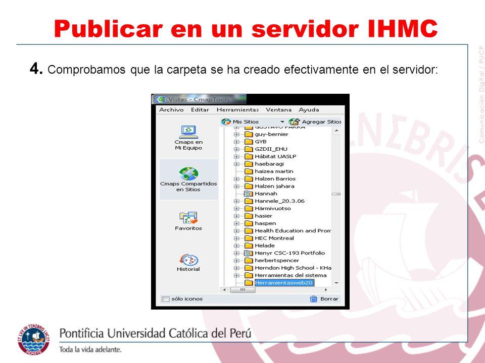 4. Comprobamos que la carpeta se ha creado efectivamente en el servidor: Publicar en un servidor IHMC