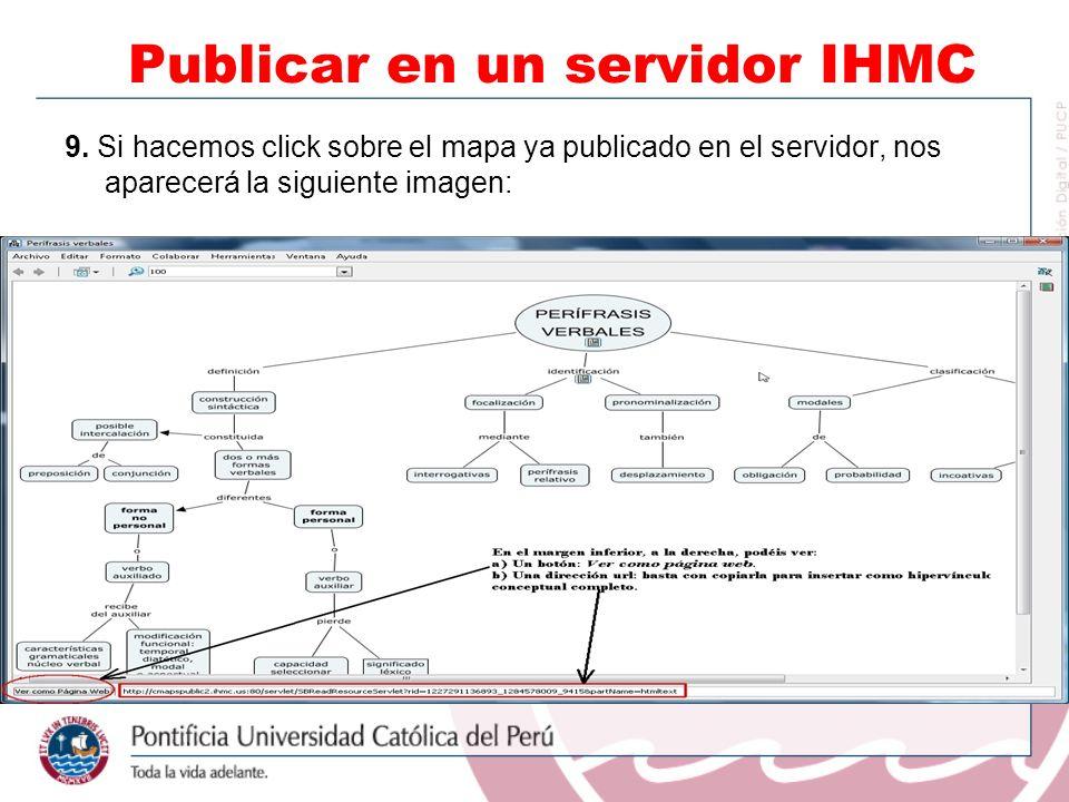 9. Si hacemos click sobre el mapa ya publicado en el servidor, nos aparecerá la siguiente imagen: Publicar en un servidor IHMC