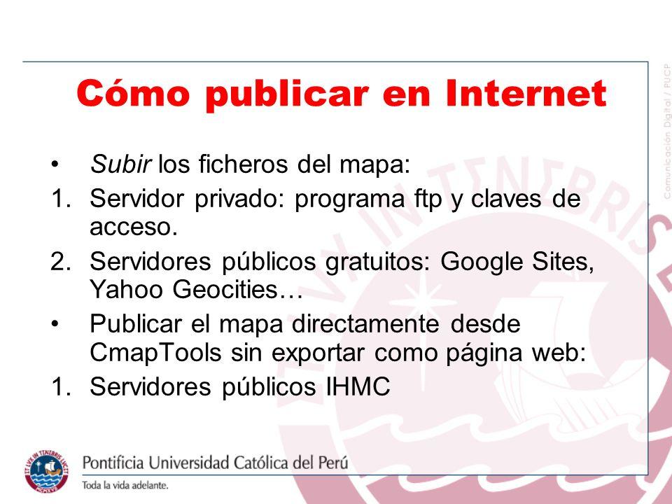 Subir los ficheros del mapa: 1.Servidor privado: programa ftp y claves de acceso. 2.Servidores públicos gratuitos: Google Sites, Yahoo Geocities… Publ