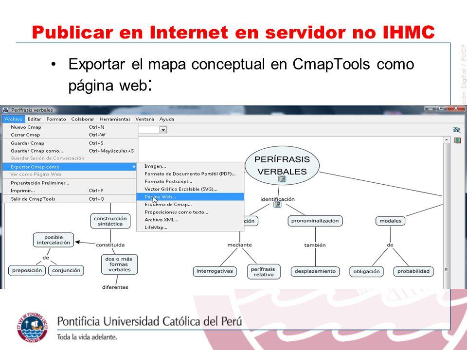 Exportar el mapa conceptual en CmapTools como página web : Publicar en Internet en servidor no IHMC