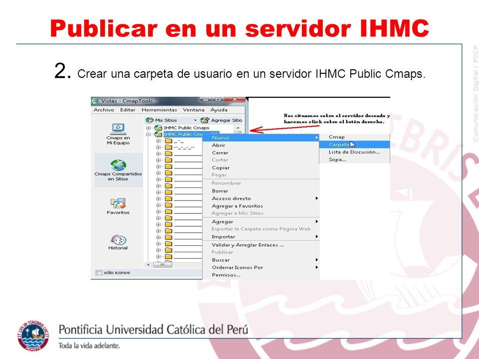 2. Crear una carpeta de usuario en un servidor IHMC Public Cmaps. Publicar en un servidor IHMC