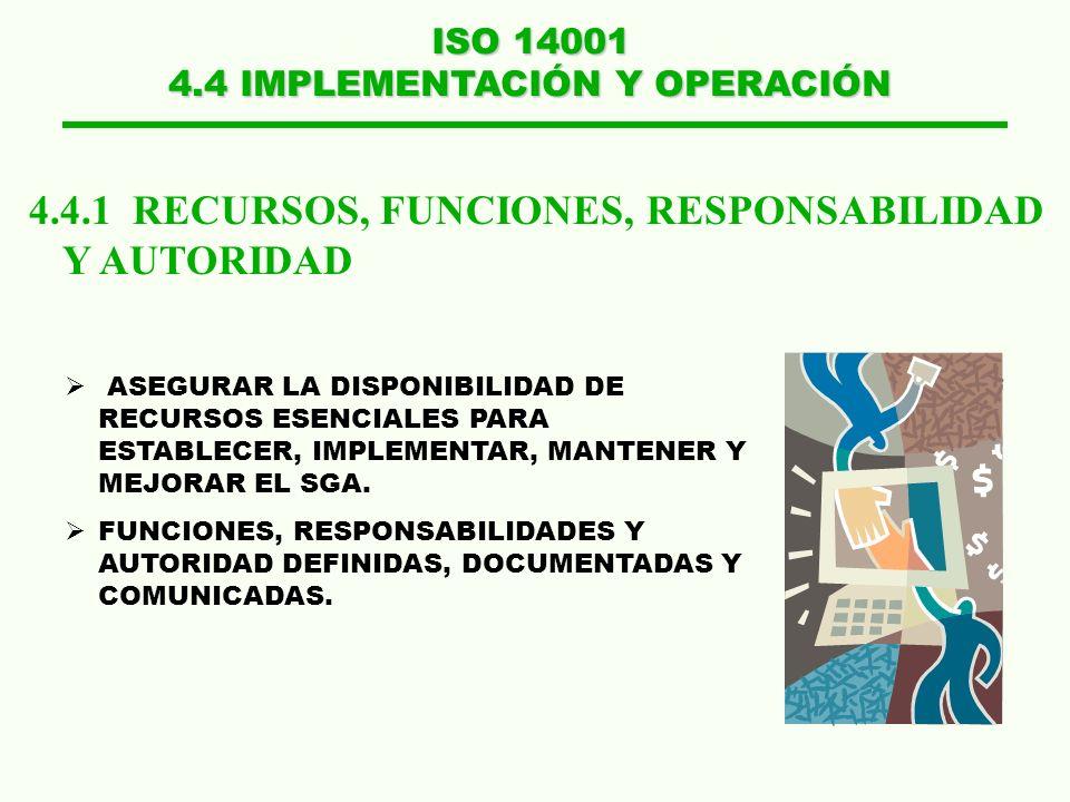 ISO 14001 4.4 IMPLEMENTACIÓN Y OPERACIÓN 4.4.1 RECURSOS, FUNCIONES, RESPONSABILIDAD Y AUTORIDAD ASEGURAR LA DISPONIBILIDAD DE RECURSOS ESENCIALES PARA