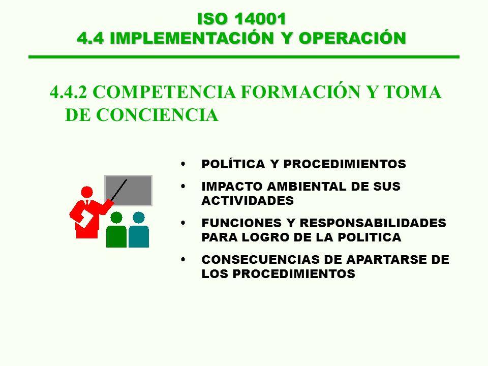 ISO 14001 4.4 IMPLEMENTACIÓN Y OPERACIÓN 4.4.2 COMPETENCIA FORMACIÓN Y TOMA DE CONCIENCIA POLÍTICA Y PROCEDIMIENTOS IMPACTO AMBIENTAL DE SUS ACTIVIDAD
