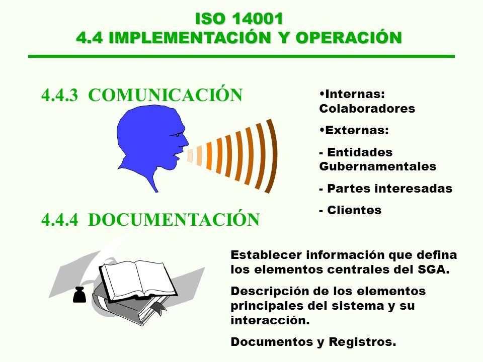 ISO 14001 4.4 IMPLEMENTACIÓN Y OPERACIÓN 4.4.3 COMUNICACIÓN 4.4.4 DOCUMENTACIÓN Internas: Colaboradores Externas: - Entidades Gubernamentales - Partes