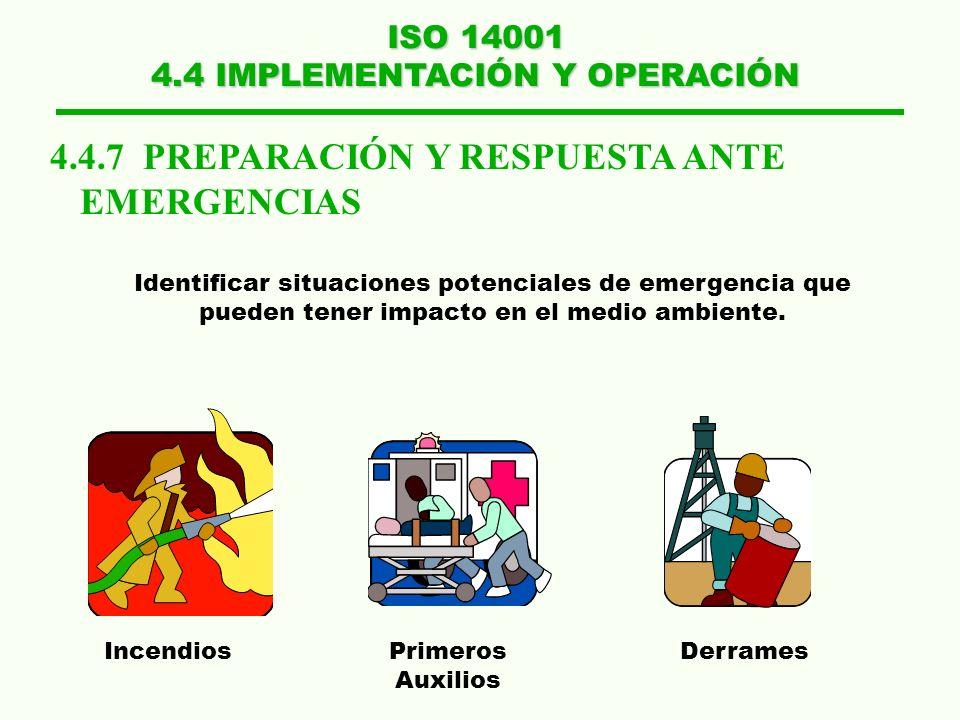 ISO 14001 4.4 IMPLEMENTACIÓN Y OPERACIÓN 4.4.7 PREPARACIÓN Y RESPUESTA ANTE EMERGENCIAS Identificar situaciones potenciales de emergencia que pueden t