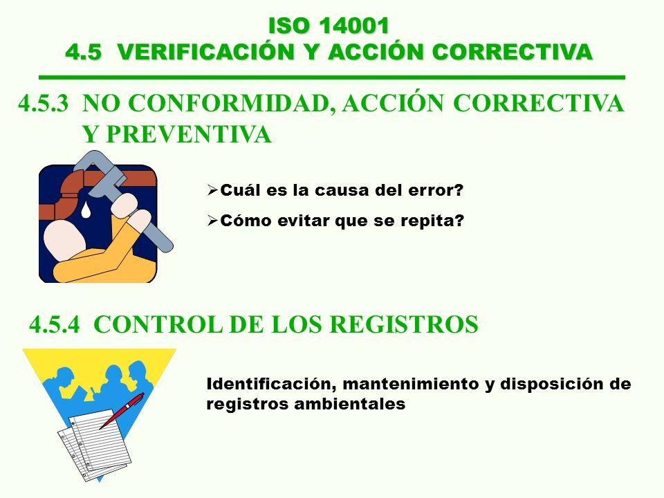 ISO 14001 4.5 VERIFICACIÓN Y ACCIÓN CORRECTIVA 4.5.4 CONTROL DE LOS REGISTROS Identificación, mantenimiento y disposición de registros ambientales 4.5