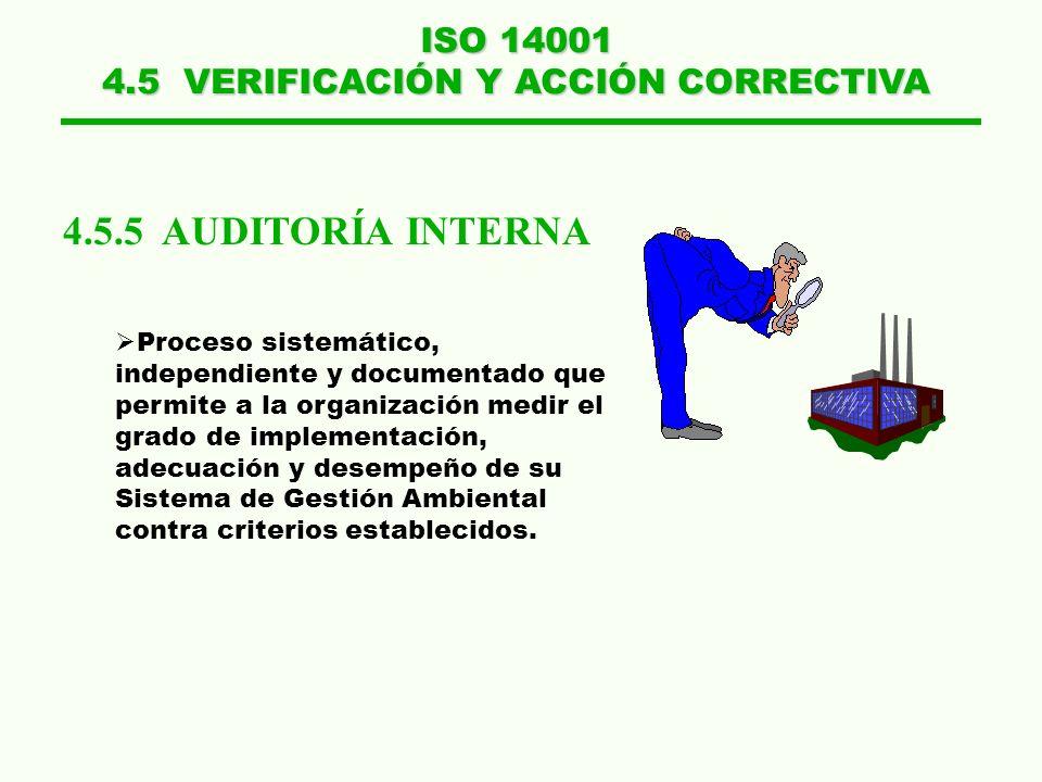 ISO 14001 4.5 VERIFICACIÓN Y ACCIÓN CORRECTIVA 4.5.5 AUDITORÍA INTERNA Proceso sistemático, independiente y documentado que permite a la organización