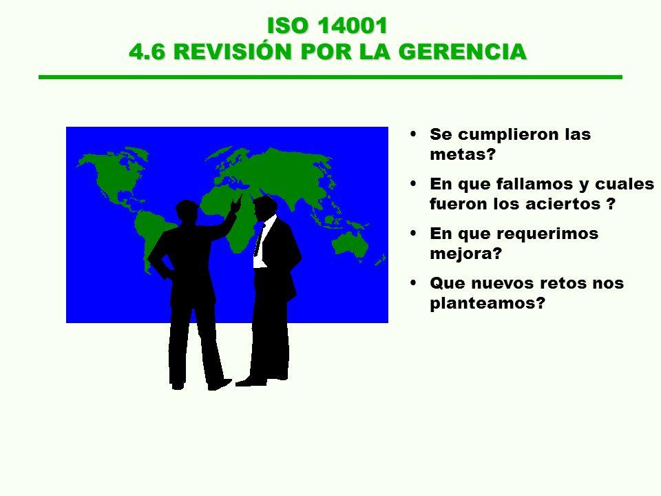 ISO 14001 4.6 REVISIÓN POR LA GERENCIA Se cumplieron las metas? En que fallamos y cuales fueron los aciertos ? En que requerimos mejora? Que nuevos re