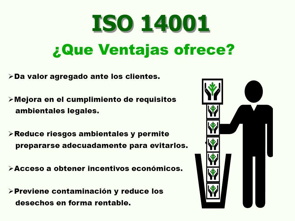 ISO 14001 ¿Que Ventajas ofrece? Da valor agregado ante los clientes. Mejora en el cumplimiento de requisitos ambientales legales. Reduce riesgos ambie