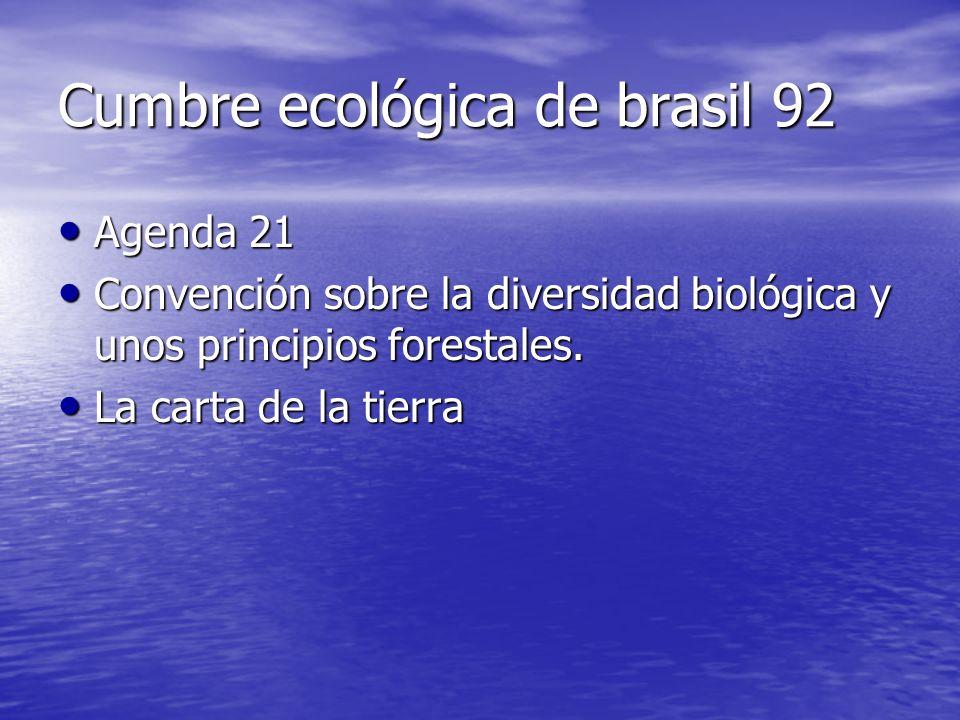 Cumbre ecológica de brasil 92 Agenda 21 Agenda 21 Convención sobre la diversidad biológica y unos principios forestales.