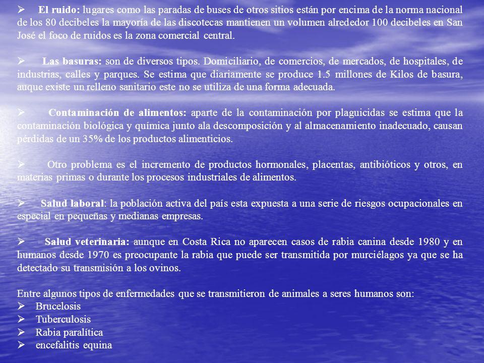 Contaminación ambiental: en Costa Rica para nuestros efectos será atmosférica por el ruido y por las basuras también por contaminación de alimentos, s