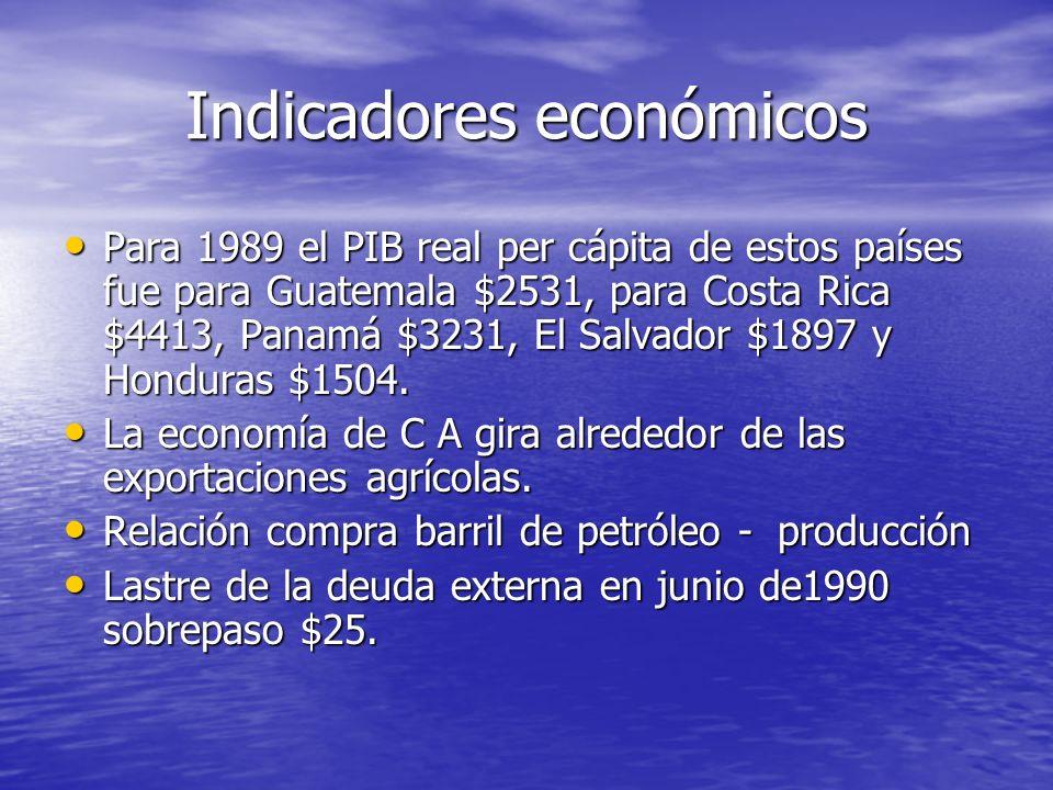 Indicadores económicos Para 1989 el PIB real per cápita de estos países fue para Guatemala $2531, para Costa Rica $4413, Panamá $3231, El Salvador $1897 y Honduras $1504.
