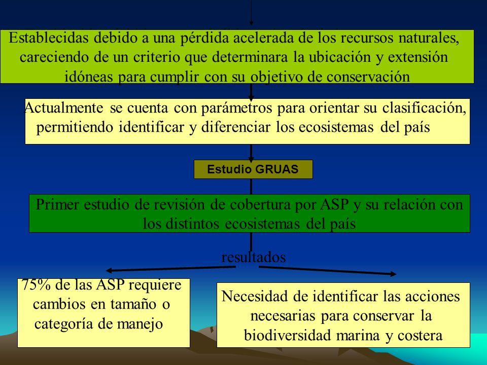 Estudio GRUAS Actualmente se cuenta con parámetros para orientar su clasificación, permitiendo identificar y diferenciar los ecosistemas del país Esta