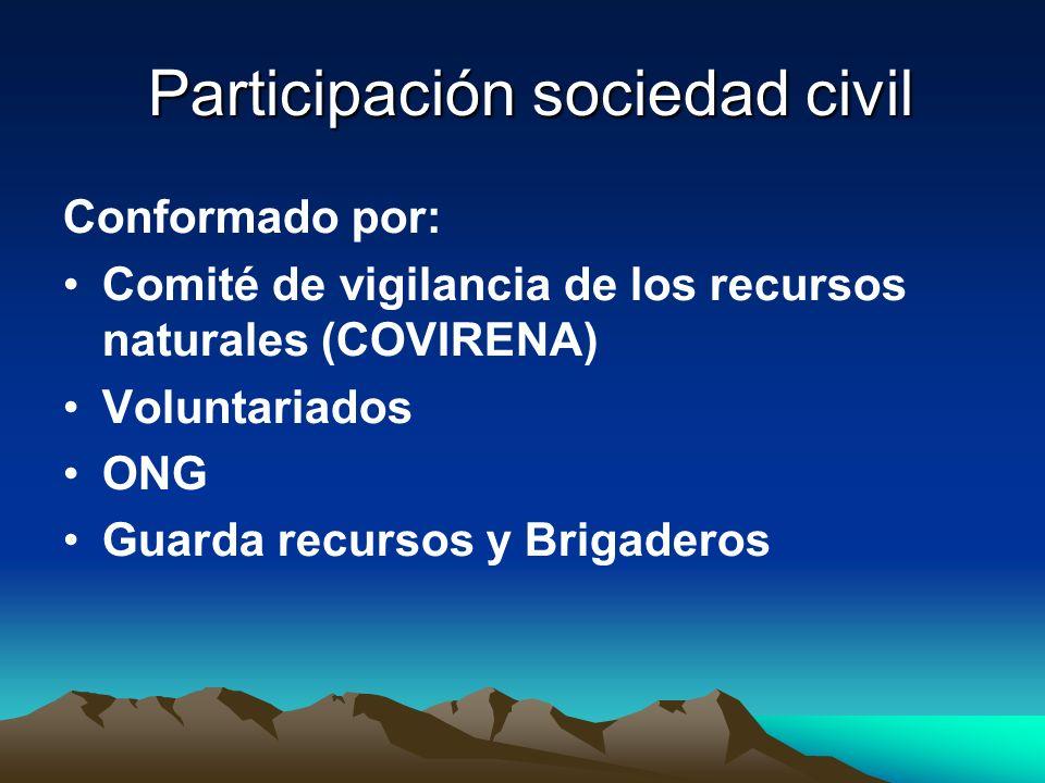 Participación sociedad civil Participación sociedad civil Conformado por: Comité de vigilancia de los recursos naturales (COVIRENA) Voluntariados ONG