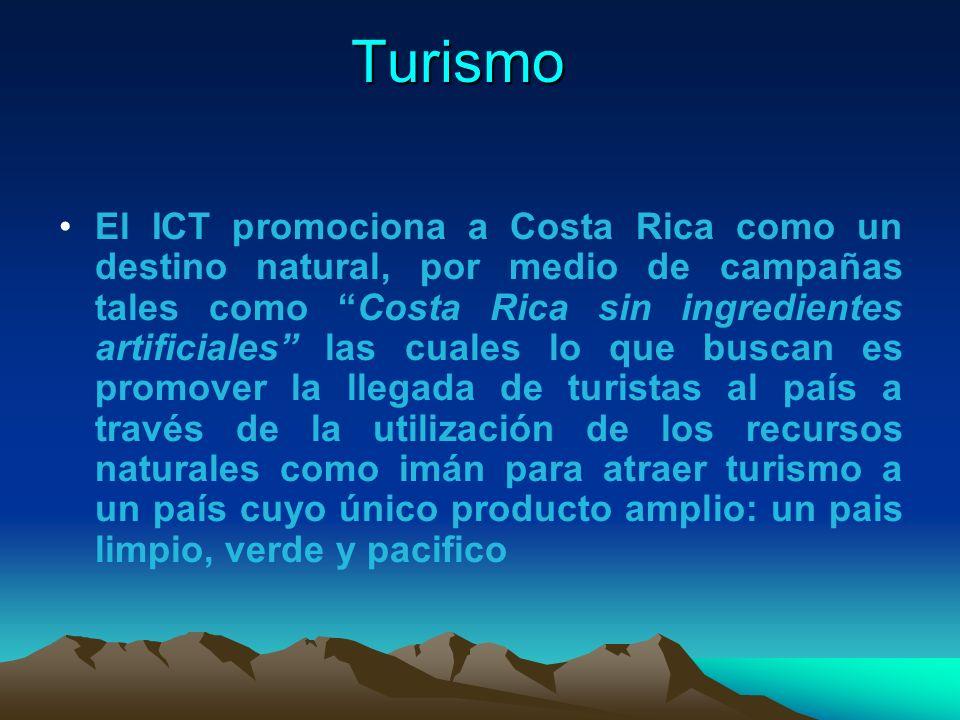 Turismo El ICT promociona a Costa Rica como un destino natural, por medio de campañas tales como Costa Rica sin ingredientes artificiales las cuales l