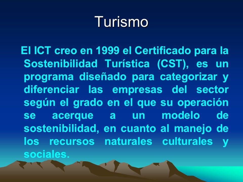 Turismo El ICT creo en 1999 el Certificado para la Sostenibilidad Turística (CST), es un programa diseñado para categorizar y diferenciar las empresas