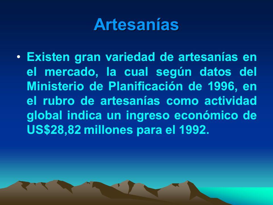 Artesanías Existen gran variedad de artesanías en el mercado, la cual según datos del Ministerio de Planificación de 1996, en el rubro de artesanías c