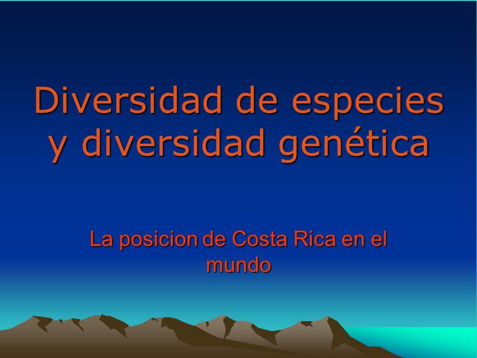 Diversidad de especies y diversidad genética La posicion de Costa Rica en el mundo