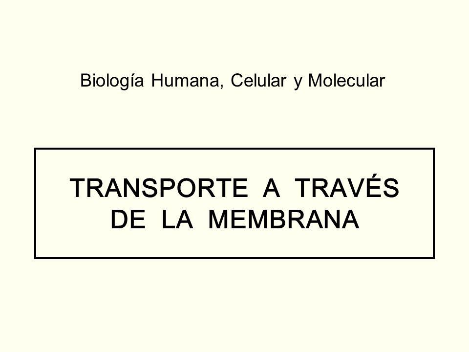 TRANSPORTE A TRAVÉS DE LA MEMBRANA Biología Humana, Celular y Molecular
