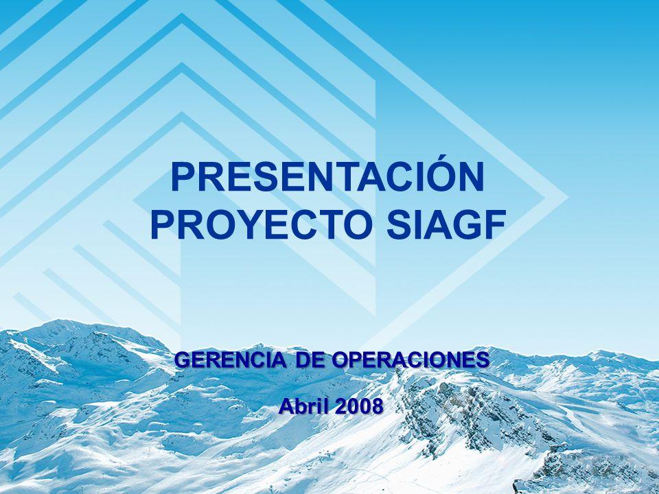 GERENCIA DE OPERACIONES Abril 2008 PRESENTACIÓN PROYECTO SIAGF