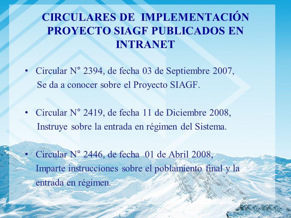 CIRCULARES DE IMPLEMENTACIÓN PROYECTO SIAGF PUBLICADOS EN INTRANET Circular N° 2394, de fecha 03 de Septiembre 2007, Se da a conocer sobre el Proyecto
