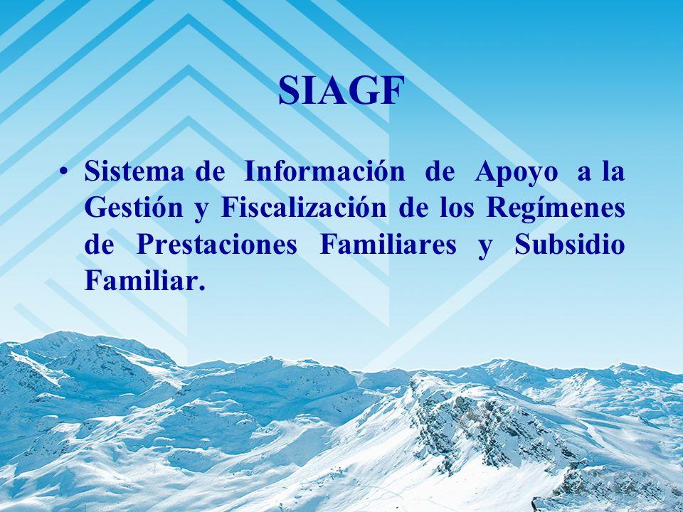 SIAGF Sistema de Información de Apoyo a la Gestión y Fiscalización de los Regímenes de Prestaciones Familiares y Subsidio Familiar.