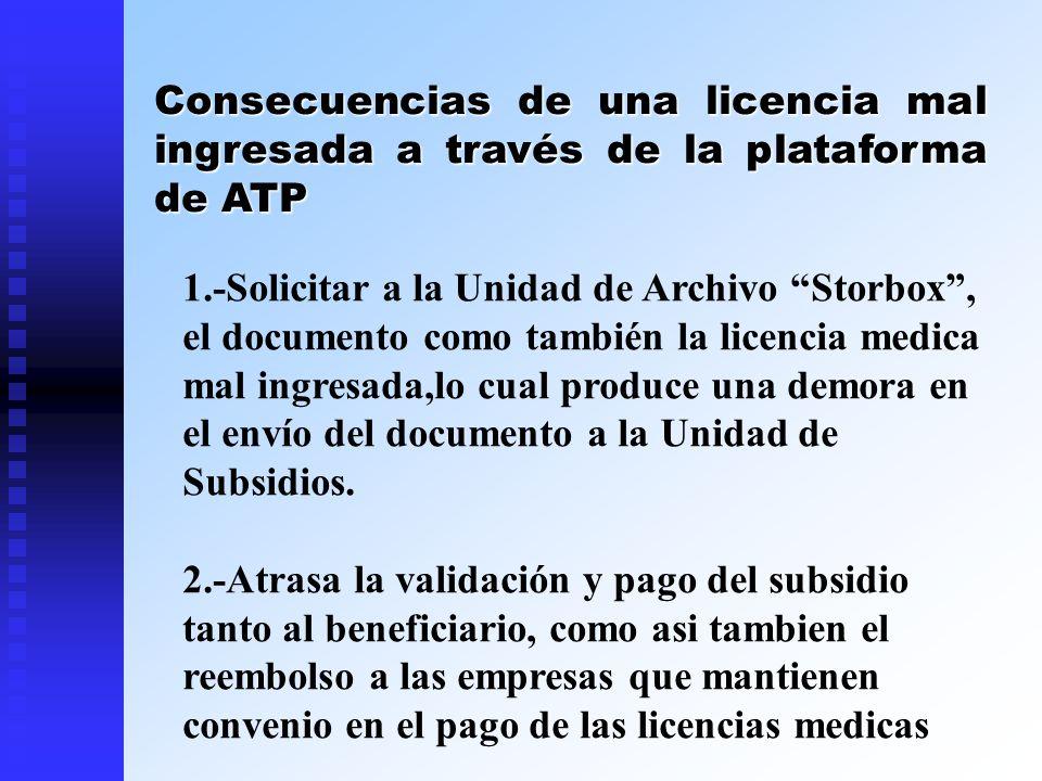 Consecuencias de una licencia mal ingresada a través de la plataforma de ATP 1.-Solicitar a la Unidad de Archivo Storbox, el documento como también la