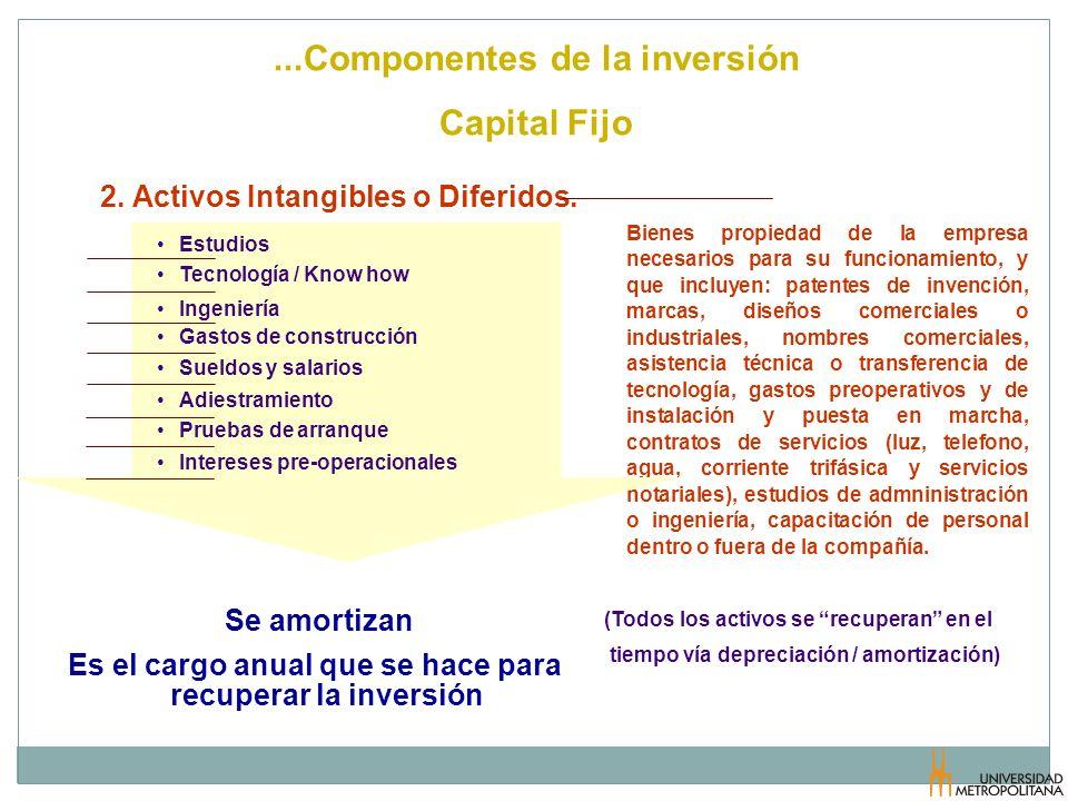 ...Componentes de la inversión Capital Fijo Bienes propiedad de la empresa necesarios para su funcionamiento, y que incluyen: patentes de invención, m