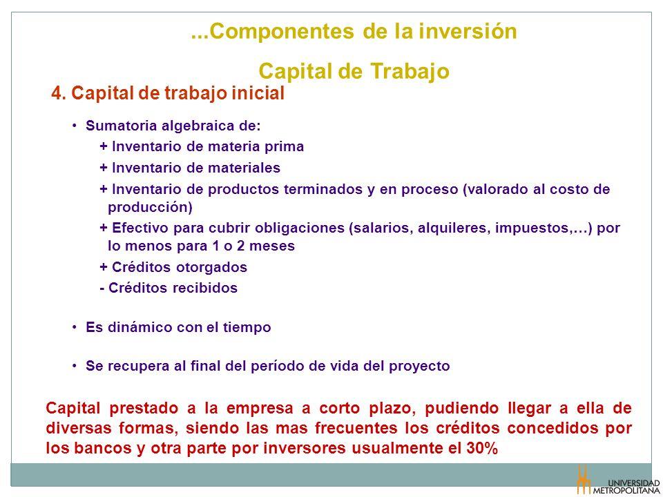 4. Capital de trabajo inicial Sumatoria algebraica de: + Inventario de materia prima + Inventario de materiales + Inventario de productos terminados y