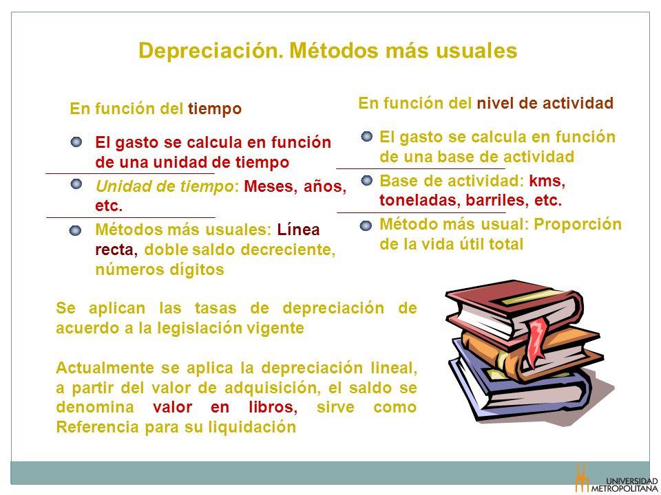 Depreciación. Métodos más usuales El gasto se calcula en función de una unidad de tiempo Unidad de tiempo: Meses, años, etc. Métodos más usuales: Líne